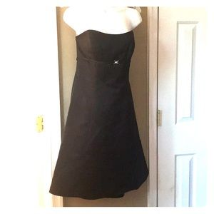 Strapless satin pleated black dress